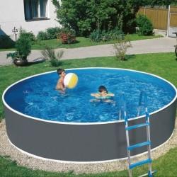 Pool Azuro Round Imitation Graphite-white 360x120