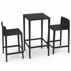 Ensemble Spritz table et 2 tabourets Vondom hauteur d'assise 76cm noir