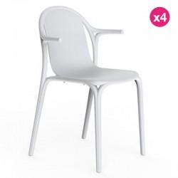 Lot de 4 fauteuils Vondom Brooklyn blanc
