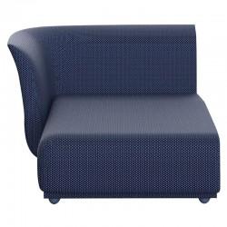 Sofa méridienne droite Suave Vondom tissu déperlant Bleu Outremer 1002