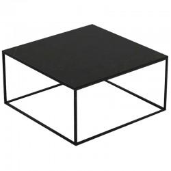 Square coffee table Pixel Vondom Dekton Kelya black and black legs 80x80xH25