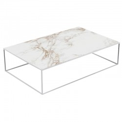 Table basse Pixel Vondom Dekton Entzo blanc et pieds blancs 160x100xH25