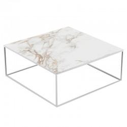 Table basse Pixel Vondom Dekton Entzo blanc et pieds blancs 100x100xH25