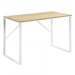 Bureau rectangulaire 120x60 bois clair et métal blanc KosyForm