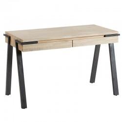 Bureau Design bois d'acacia massif et pieds acier noir 125x60 KosyForm