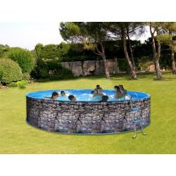 Schwimmbad, oben geschliffen Stahl TOI Piedra grau Runde Dekoration Stein 4 x 0,90 M