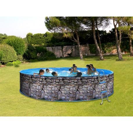 Swimming pool above ground steel TOI Piedra grey round Decoration stone 4 x 0.90 M